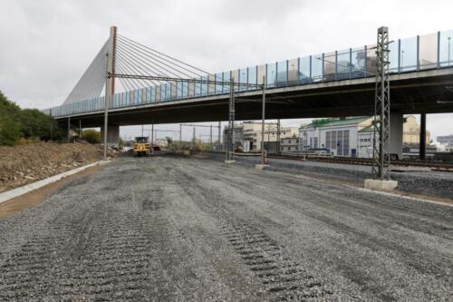 Konstrukční vrstva železničního spodku kolej č. 102.
