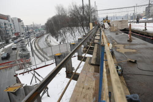 Ochranná konstrukce TT most přes ulici Vršovická/Otakarova