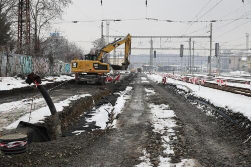 Práce na železničním spodku kolej 1,2 Vršovice